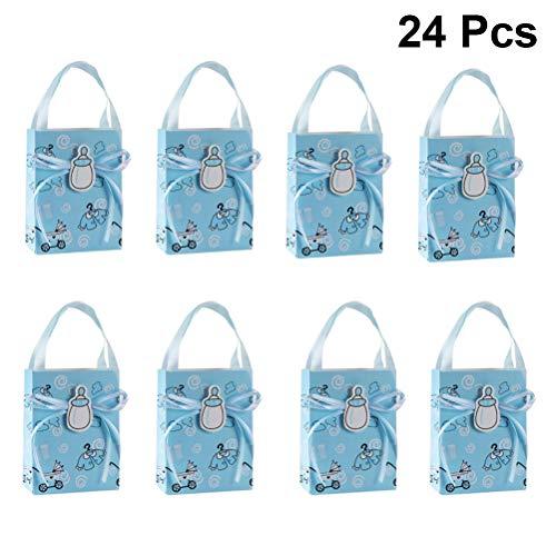 TOYANDONA Geschenke Box Papier Babys Flasche Bogen Muster Mini Geschenk Tasche mit Griffen für Baby Dusche Kinder Geburtstagsgeschenk 24 Stück (Blau) (Baby-dusche Geschenk-taschen Für)