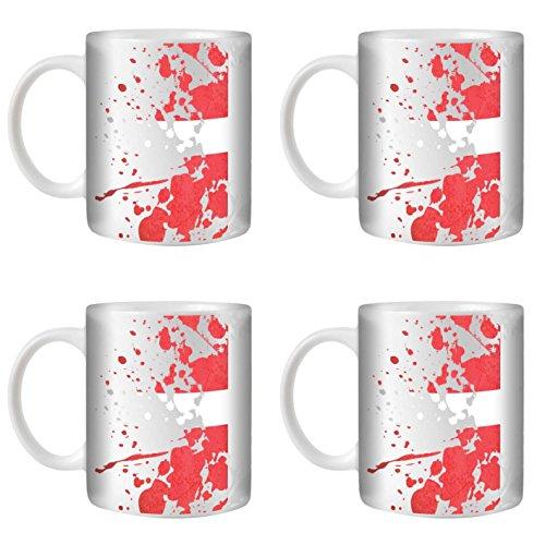 STUFF4 Tazza di Caffè/Tè 350ml/4 Pack Danimarca/Bandiere del Mondo Splat/Ceramica Bianca/ST10