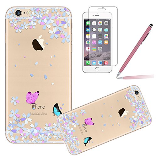 iPhone 6S Case,iPhone 6 Cover, Felfy Apple iPhone 6 / 6S 4.7 inch Rosa weiße Blume Muster Intarsien Shiny Funkeln Diamant Design Ultra Dünne weiche TPU Gel Silikon Transparent Clear Crystal Klar zurüc Schmetterling CAS