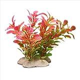 Kunstpflanze 10CM Aquarium Dekoration Wasserpflanze pink+grün TOP