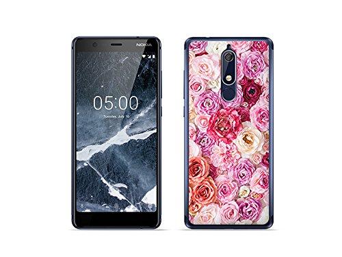 etuo Nokia 5.1 - Hülle Foto Case - Rosa Rosen - Handyhülle Schutzhülle Etui Case Cover Tasche für Handy