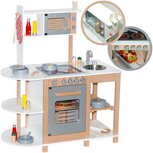 Kinderküche aus Holz (Weiß-Silber) Spielküche für Kinder