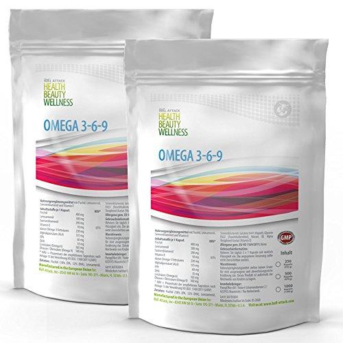 Omega 3 6 9 (1000 Softgel Kapseln á 1000mg) 3-6-9 | Fischöl | Leinöl | Sonnenblumenöl | Gesunde Fettsäuren | Preishammer