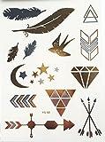 Miya® 1Stück Wild Style Metallic Tattoo, Flash Tattoos, temporär Tattoo, Gold Schwarz Silber farbig Schmuck Tattoo für Körper Finger Arme, Halskette Armband Flash Tattoos Body Tattoo, Form 18