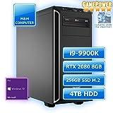 M&M Computer High End Silent Gaming PC, Intel i9-9900K CPU Eight-Core, GeForce RTX2080-8GB Gaming, 256GB SSD M.2 (NVMe), 4 TB HDD, 16GB DDR4 3000MHz, Windows 10 Pro