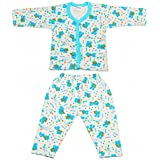 Littly Front Open Kids Printed Thermal Top And Pyjama Set For Baby Boys And Baby Girls (Blue)