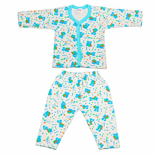 Littly Front Open Kids Printed Thermal Top & Pyjama Set for Baby Boys & Baby Girls (Blue)