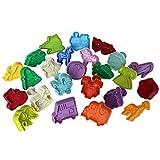 28 teiliges Set Kekse-Ausstecher Plätzchen Kunststoff Ausstechformen mit Stößel Auswerfer von Kurtzy -Muster zur Auswahl- Tiere, Gemüse, Baby bezogene Themen, Blätter, Slogans, Transport und Kleidung