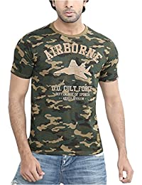 Difference of Opinion Latest New Style Regular Fit Branded Stylish, Trendy Casual Round Neck/Half Sleeve/Low Price Cotton Army Print Camouflage T-Shirt for Men/Boy (Green)