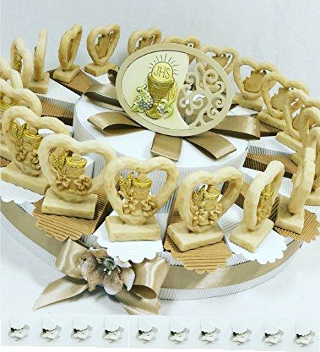 Torta bomboniera comunione femmina maschio confetti crispo oggetti immagine sacra della comunione (torta 20 fette cuore comunione)