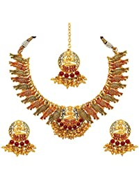 Atasi International Traditional Temple And Peacock Meenawork Multicolor Jewellery Set For Women