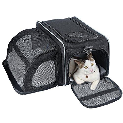 Transportbox Haustiere, Fypo Katzenbox Hundebox Haustiertragetasche Katzentasche Faltbare Erweiterbare Katzentransportbox 45*29*31cm(Katzenbox Schwarz)