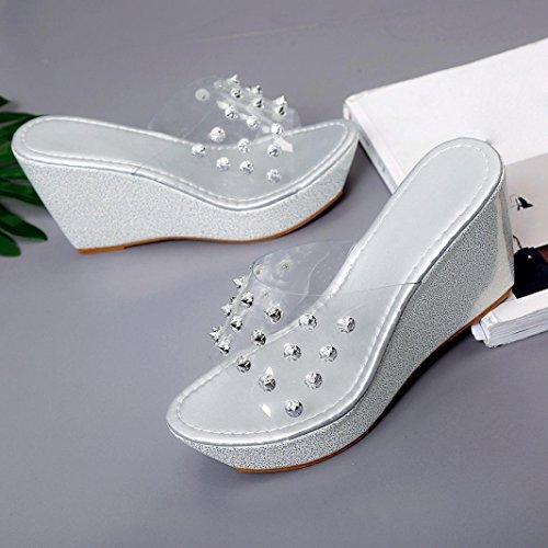 Vovotrade Femme Sandales Chaussures à Pieds avec Rivet Wedge Slipper Chaussures à Talon Compensé à Talons Hauts Tongs Argent
