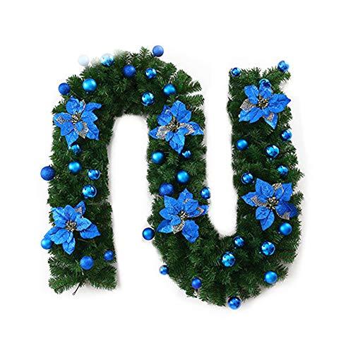 AAGOOD Die Zweige des Kiefer Weihnachtsbaum Rattan-künstliche Blumen-Girlande Kiefer Künstliche Weihnachtskranz-Verzierung Weihnachtsbaumdekoration mit Licht (blau)