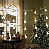 50 LED Lichterkette, LEDs Globe Lichterkette 16.4FT (5M), String Licht Sternenlicht Warmweiß Innen- und Außen Deko Glühbirne, Weihnachtsbeleuchtung für Weihnachten, Hochzeit, Garten, Party, Weihnachtsbaum von Shovan