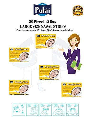Nasenstreifen. 50 Stück in 5 Box, große Größe (66 * 19 mm) atmen frische Nasenstreifen von Pufai.