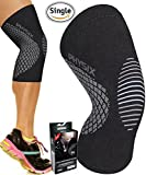 PHYSIX GEAR SPORT Knee Support Brace - Premium Recovery & Compression Sleeve For Meniscus Tear, ACL, Running & Arthritis - Best Neoprene Wrap for Crossfit, Squats & Heavy Duty Workouts (Single Grey M)