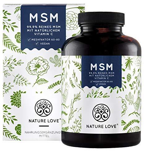 NATURE LOVEu00ae MSM Tabletten - 365 Stück (6 Monate) - Hochdosiert: 2000mg MSM je Tagesdosis - Premium: mit natürlichem Vitamin C (Acerola) - Ohne Zusätze, laborgeprüft, vegan, hergestellt in Deutschland