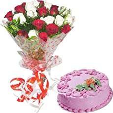 REMARKABLE COMBO - 25 Red N White Roses Hand Bunch with Half KG Strawberry Cake