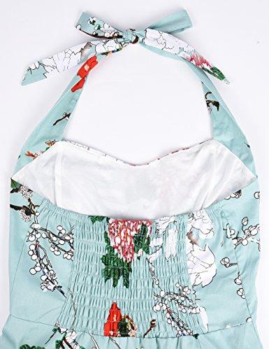 iShine elegant Neckholder Kleider Damen Knielang 50er Vintage Rockabilly Partykleider Cocktailkleid mit Blumenmuster Grün