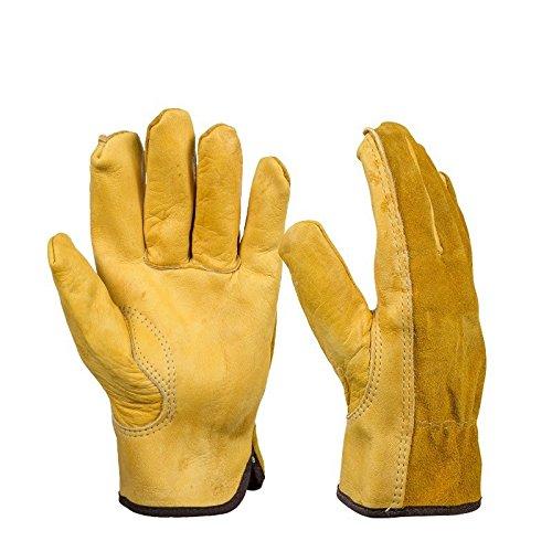 Bazaar 1Paar Leder Handschuhe Schutz Handschuhe Sicherheit Garten Arbeitsmarkt Handschuhe tragen Safety Tools