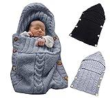 Omeny Couverture enveloppante pour nouveau-nés sac de couchage en laine tricotée pour bébés enveloppe de Ppoussette (Gris)