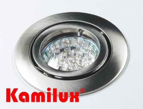 5 x LED Einbaustrahler Bajo 230V edelstahl-gebürstet + 20er LED Leuchtmittel in warmweiss mit Schutzscheibe