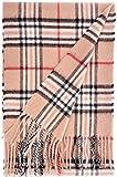 100% Kaschmir Damen Schal, Camel mit Muster