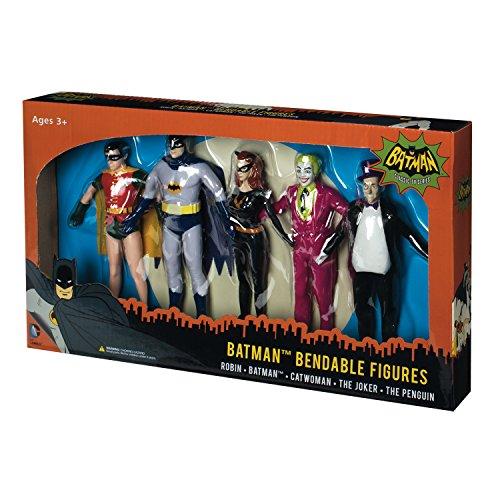 NJ Croce Batman Classic TV Series Bendable Boxed Set - Batman, Robin, Catwoman, The Joker and The Pe