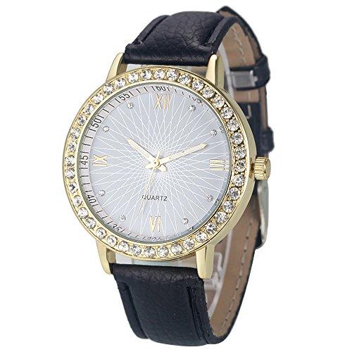 winwintom Diamant Analog Leder Quarz Armbanduhr Schwarz Herren Bulova Gold Diamant Uhr