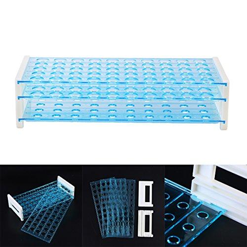 UKCOCO Plastik 3 Schichten 15 mm Lab Test Tub Rack Holder Rohr Zentrifugal 50 Löcher für Laborzubehör