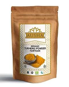 Ausha Fairtrade Organic Turmeric Powder 100g (High in Circumin 5.46% Premium Quality)