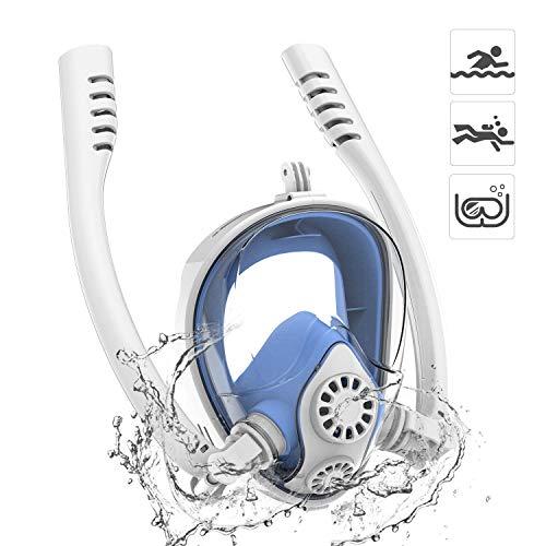 180 Degrés Masque de Plongée 2019 Neuf Panoramique Masque Snorkeling Plein Visage Double Tube avec Support Amovible pour GoPro d'action Caméra Anti-buée Anti-fuites pour Adultes et Enfants - Bleu S/M