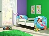 Clamaro 'Fantasia Weiß' 180 x 80 Kinderbett Set inkl. Matratze und Lattenrost, mit verstellbarem Rausfallschutz und Kantenschutzleisten, Design: 09 Meerjungrau