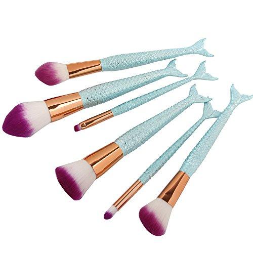 Make Up Pinsel Set NEEDOON 6 Stück Meerjungfrau Weich Bürste Synthetische Mischen Erröten Eyeliner Gesicht Powder Kit Schönheit Kosmetik