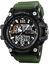 TIMEWEAR Analogue-Digital Men's Watch (Black Dial Green Colored Strap)