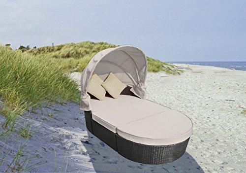 VARILANDO Sitzinsel mit Faltdach Auflagen und Kissen Lounge Garten-Couch Liege, Couch Frühling