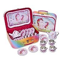 Lucy Locket Magical Unicorn Metal TEA SET & Carry Case Toy (14 Piece Pink Tea Set for Children)