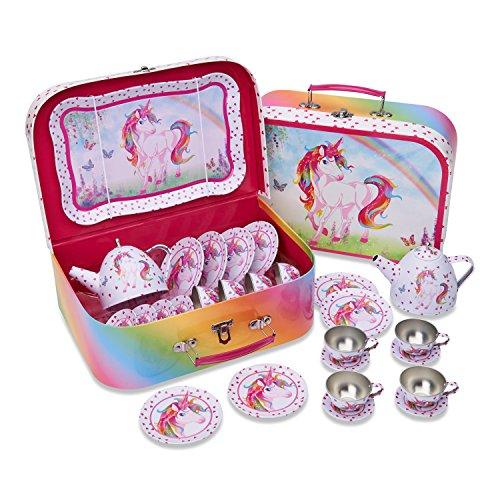 Lucy Locket Maletin Juego de Té Picnic en tonos rosas con diseño de unicornio