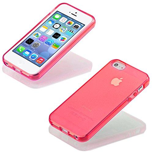 iP5 iPhone 5 / iPhone 5S SILIKON Schale Hülle Tasche Handyhülle Schutz Cover Case + PANZER GLAS FOLIE (Türkis) Rot
