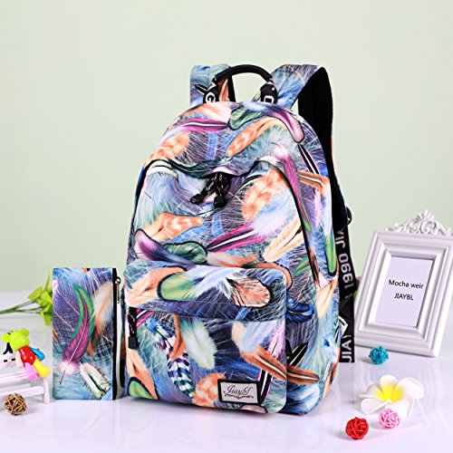 Mocha weir JIAYBL Laptop Taschen Schultern Kinder Schultaschen Rucksack Hochschule Mädchen Canvas Pack reisen (Rot Gefieder) blau Gefieder