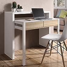 Mesa escritorio desplazante blanco brillo y roble para estudio, oficina o habitacion 98cm