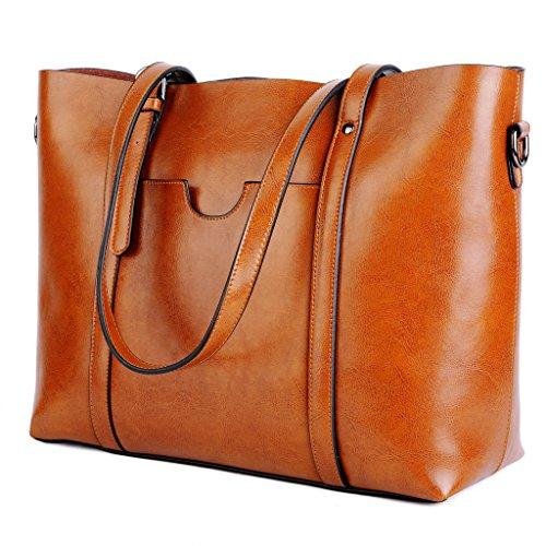 Yaluxe Damen Vintage Stil weich Leder Arbeit Shopper gross Schultertasche braun (29-jährige Frauen)