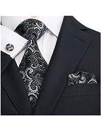 Landisun 31E noir paisleys Homme Soie Ensemble:Cravate Boutons De Manchettes Mouchoir