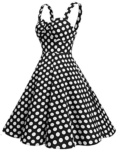 Dresstells Schultergurt 1950er Retro Schwingen Pinup Rockabilly Kleid Faltenrock Black White Dot XL - 2