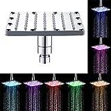 Wokee 16 * 16 * 6,5 cm Luxus RGB Einbau-Duschkopf Buntes Haupthauptbadezimmer 7 Farben, die LED-Duschhahn-Wasser-Glühen-Licht ändern Regendusche Deckenbrause
