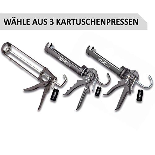 KLRStec PREMIUM Kartuschenpistole aus Metall - Hochwertige 2K Silikonpistole/-presse zum verfugen mit allen gängigen 310ml Dicht- und Klebstoffkartuschen (Silikon, Acryl, Lehm etc.)