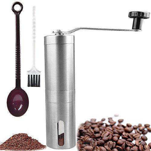 Manuel Moulin à café | en céramique Burr manuel Café | en acier inoxydable brossé | envoyer Cuillère à café et brosse