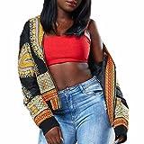 Yogogo Femmes Dashiki Manche Longue Mode Impression Africaine Dashiki Court DéContractéE Veste (XL, Hot Pink)