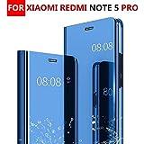 Chevron Mirror S-View Stand Flip Cover for Redmi Note 5 Pro (Blue)